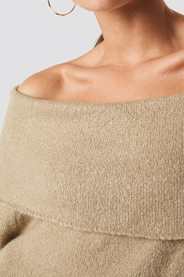 Offshoulder Folded Wide Sweater Beige Melange