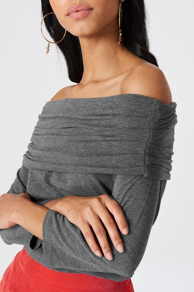 Offshoulder Light Knitted Sweater Grey Melange