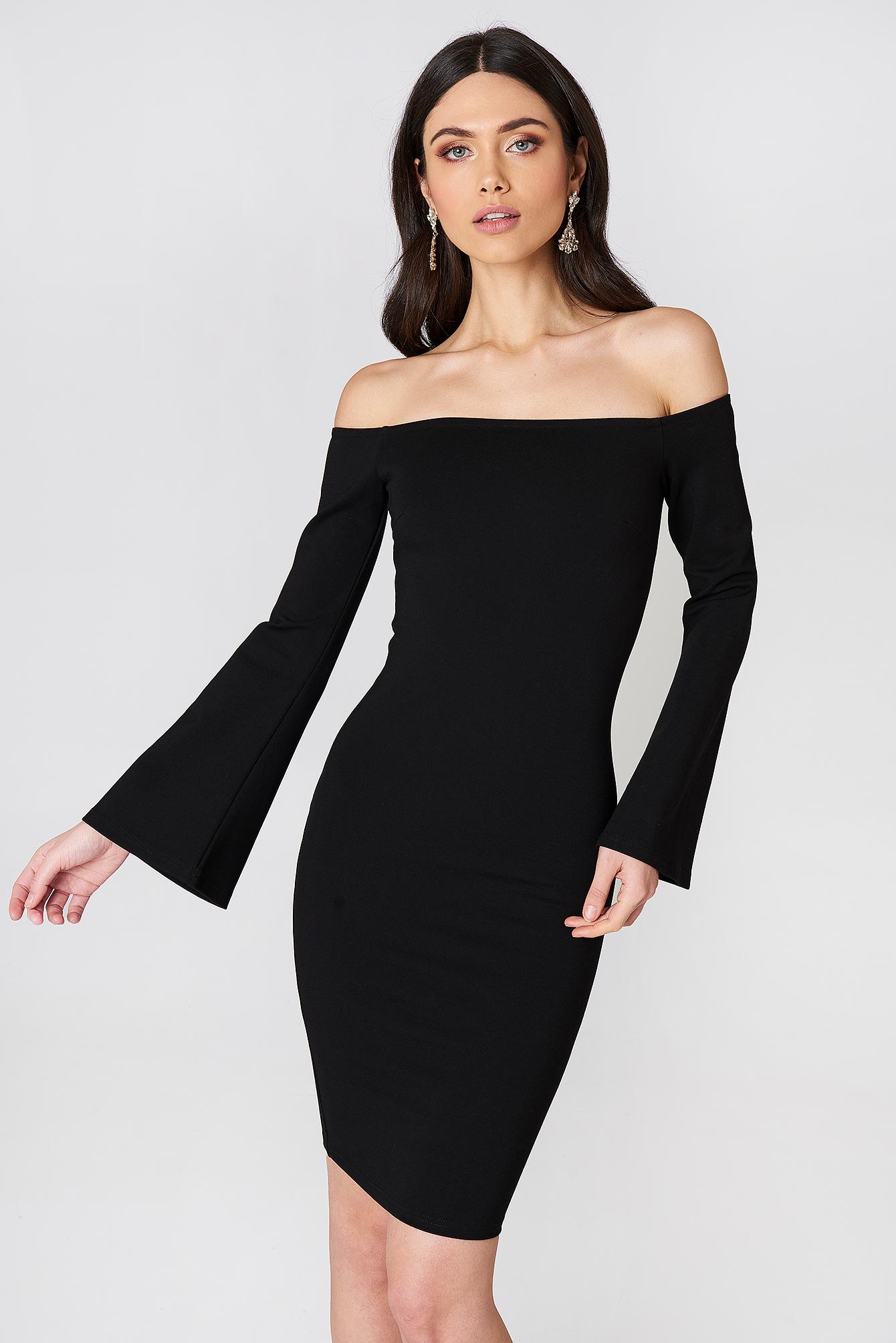 Offshoulder Trumpet Sleeve Dress - Black