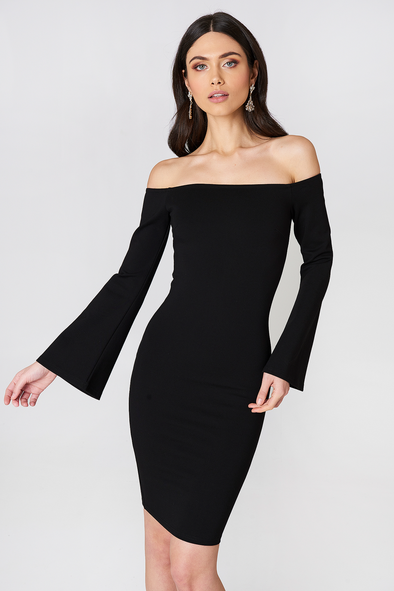 Offshoulder Trumpet Sleeve Dress NA-KD.COM