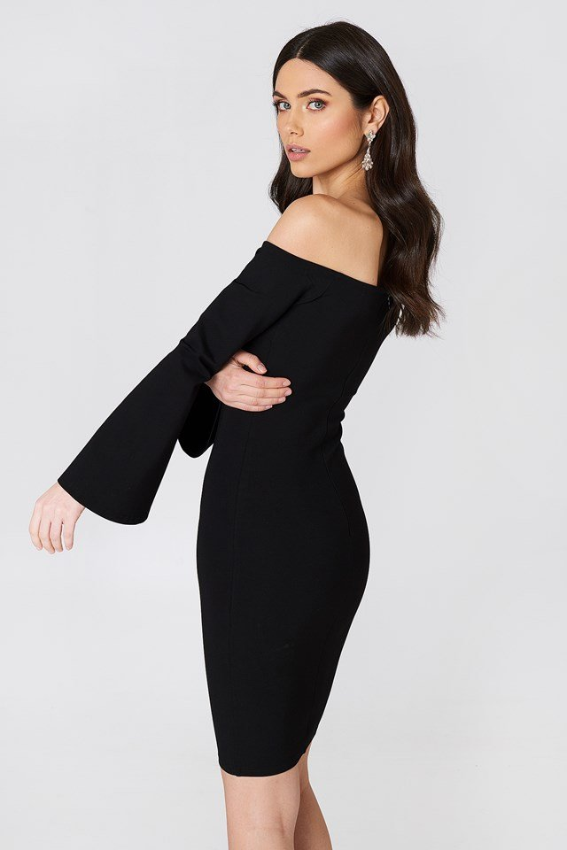 Offshoulder Trumpet Sleeve Dress Black