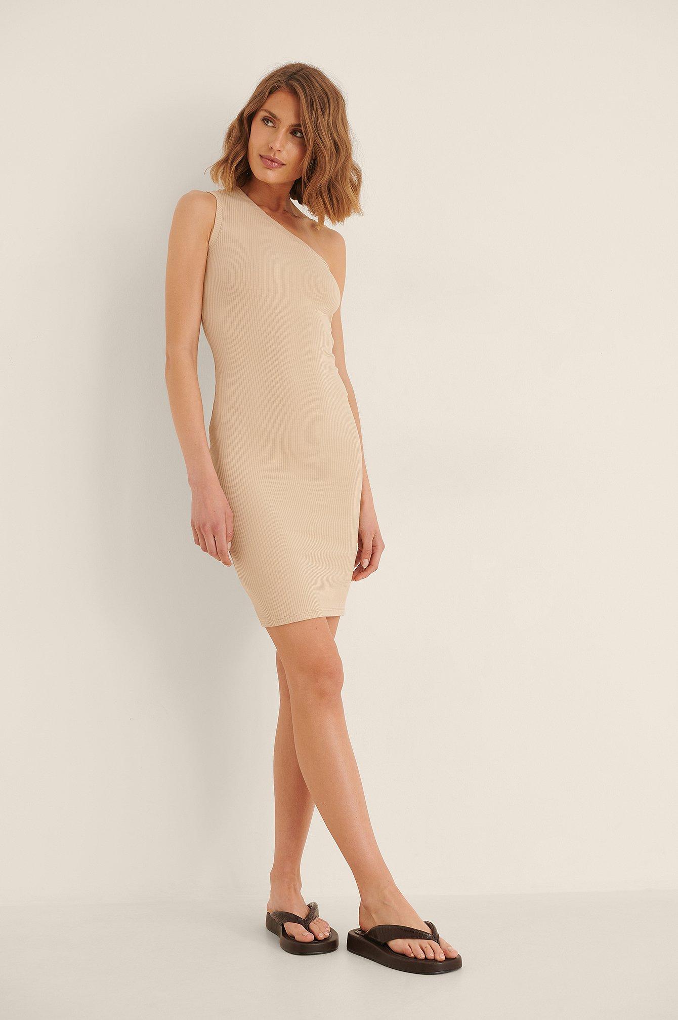 Na-kd One Shoulder Rib Mini Dress - Beige