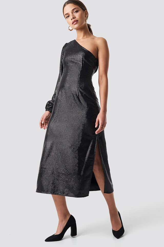 One Shoulder Balloon Sleeve Midi Dress Black