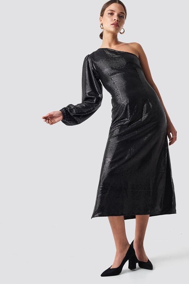 One Shoulder Balloon Sleeve Midi Dress Black Na Kd