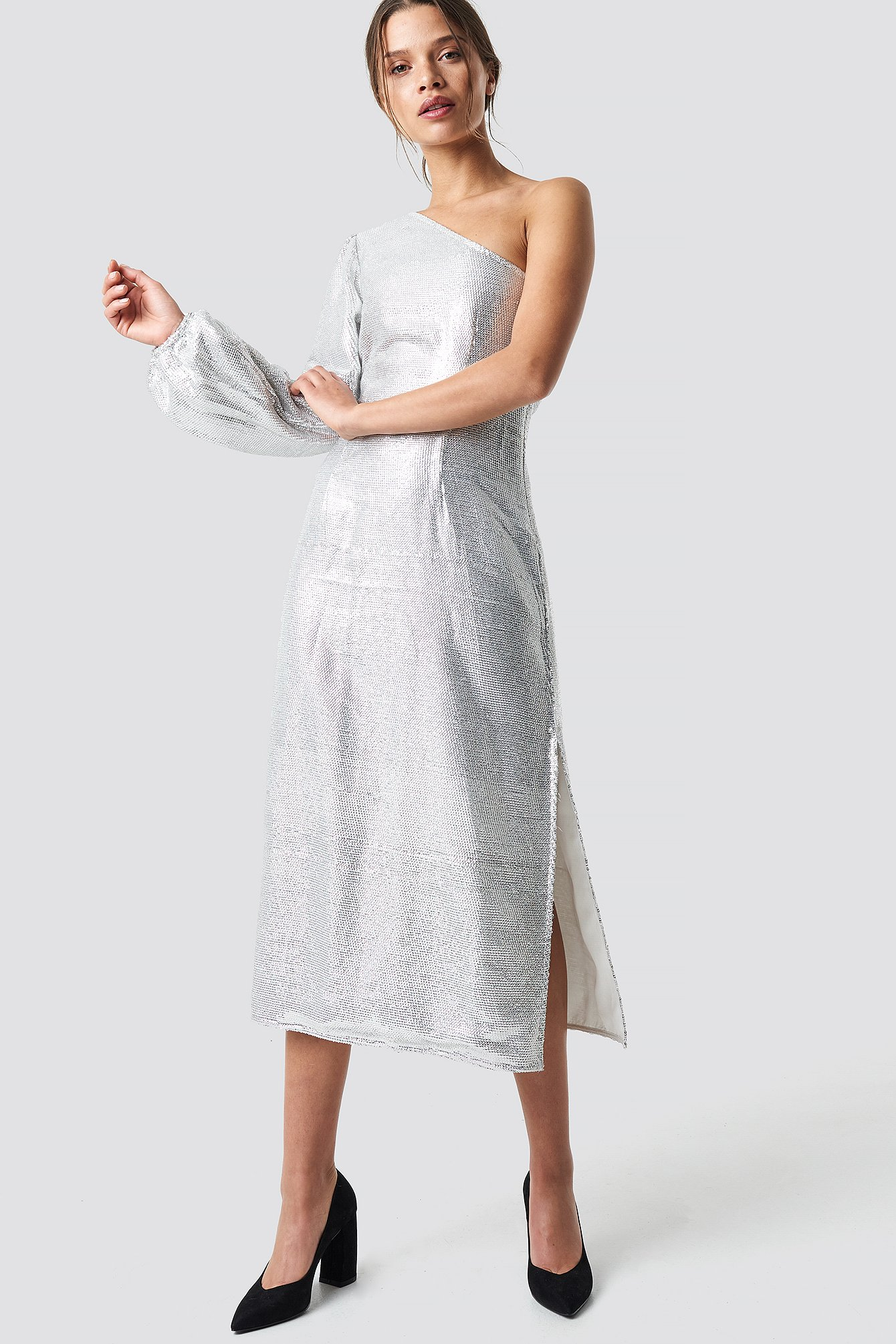 One Shoulder Balloon Sleeve Midi Dress NA-KD.COM