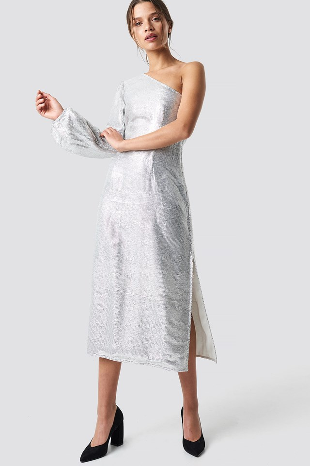 One Shoulder Balloon Sleeve Midi Dress Silver