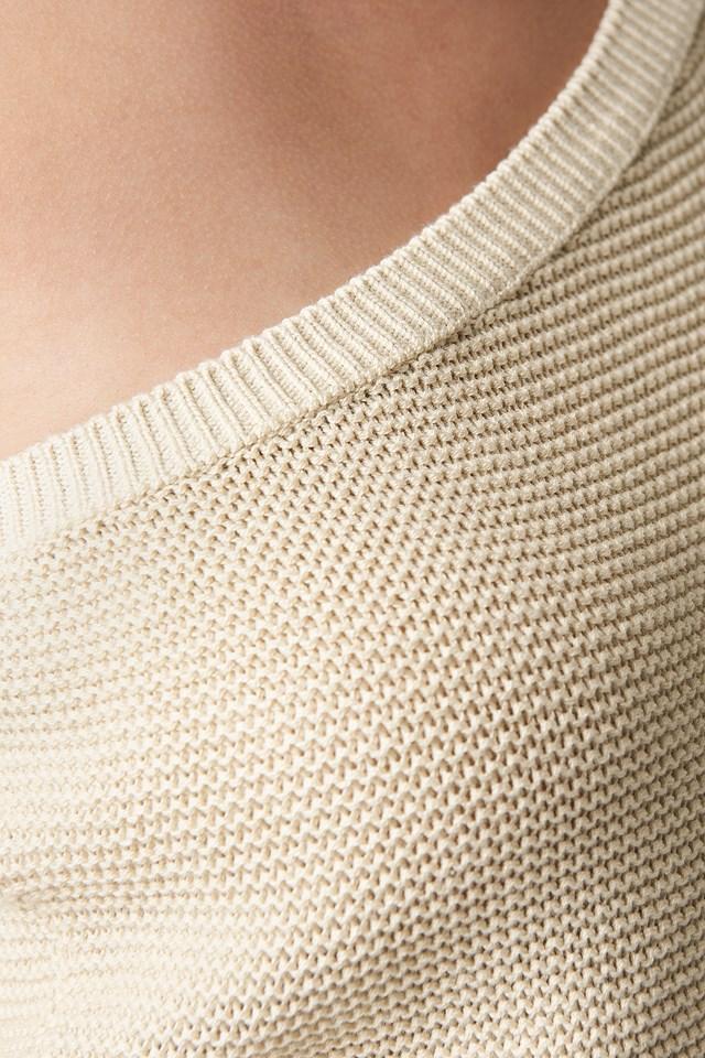 One Shoulder Balloon Sleeve Sweater Beige