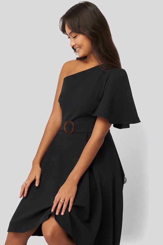 One Shoulder Belted Midi Dress Black