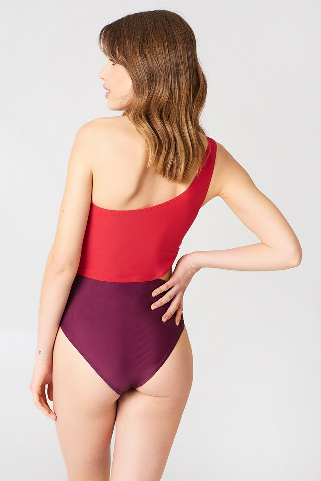 One Shoulder Block Swimsuit Purple Combo