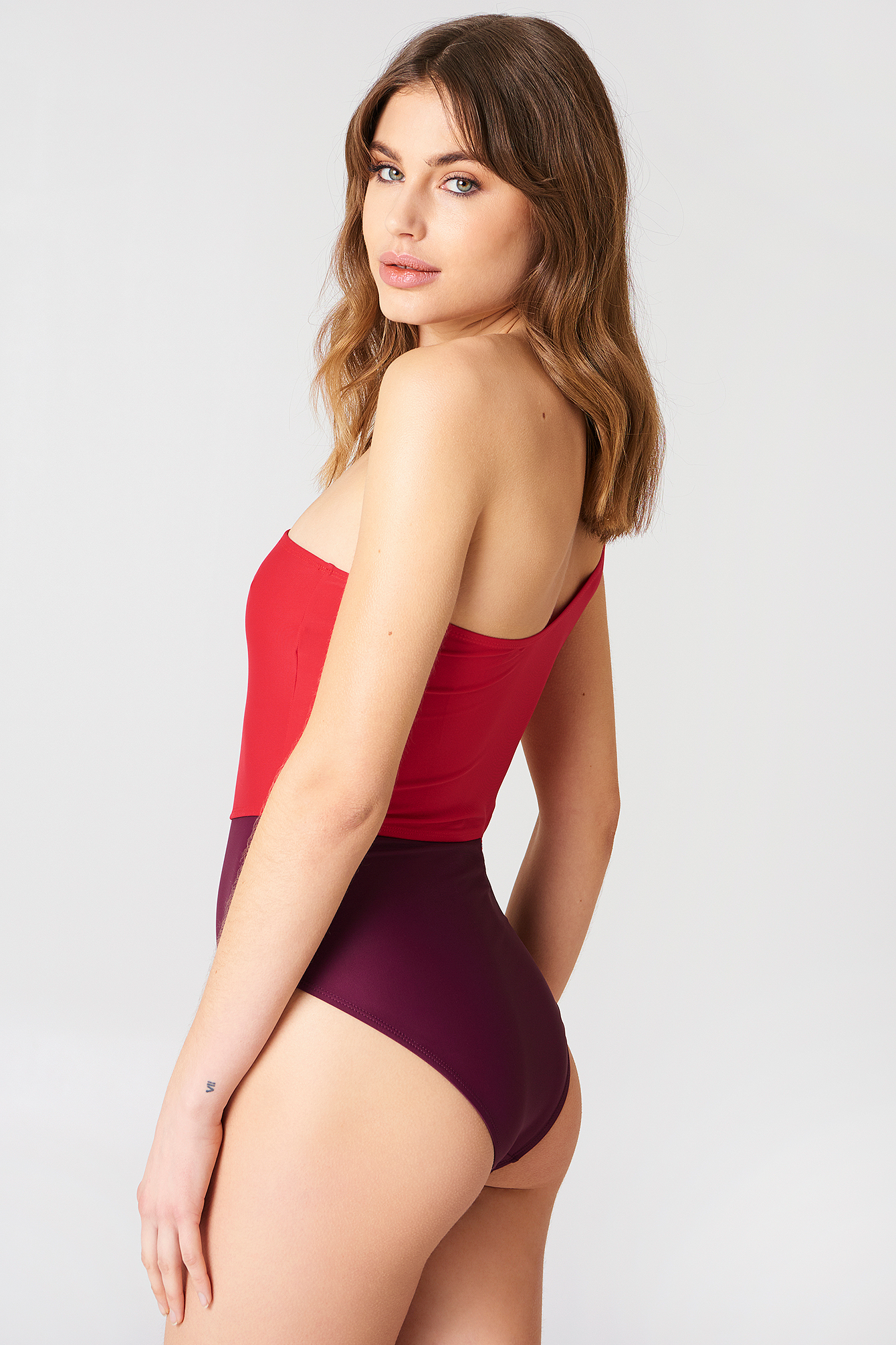Purple Combo One Shoulder Block Swimsuit