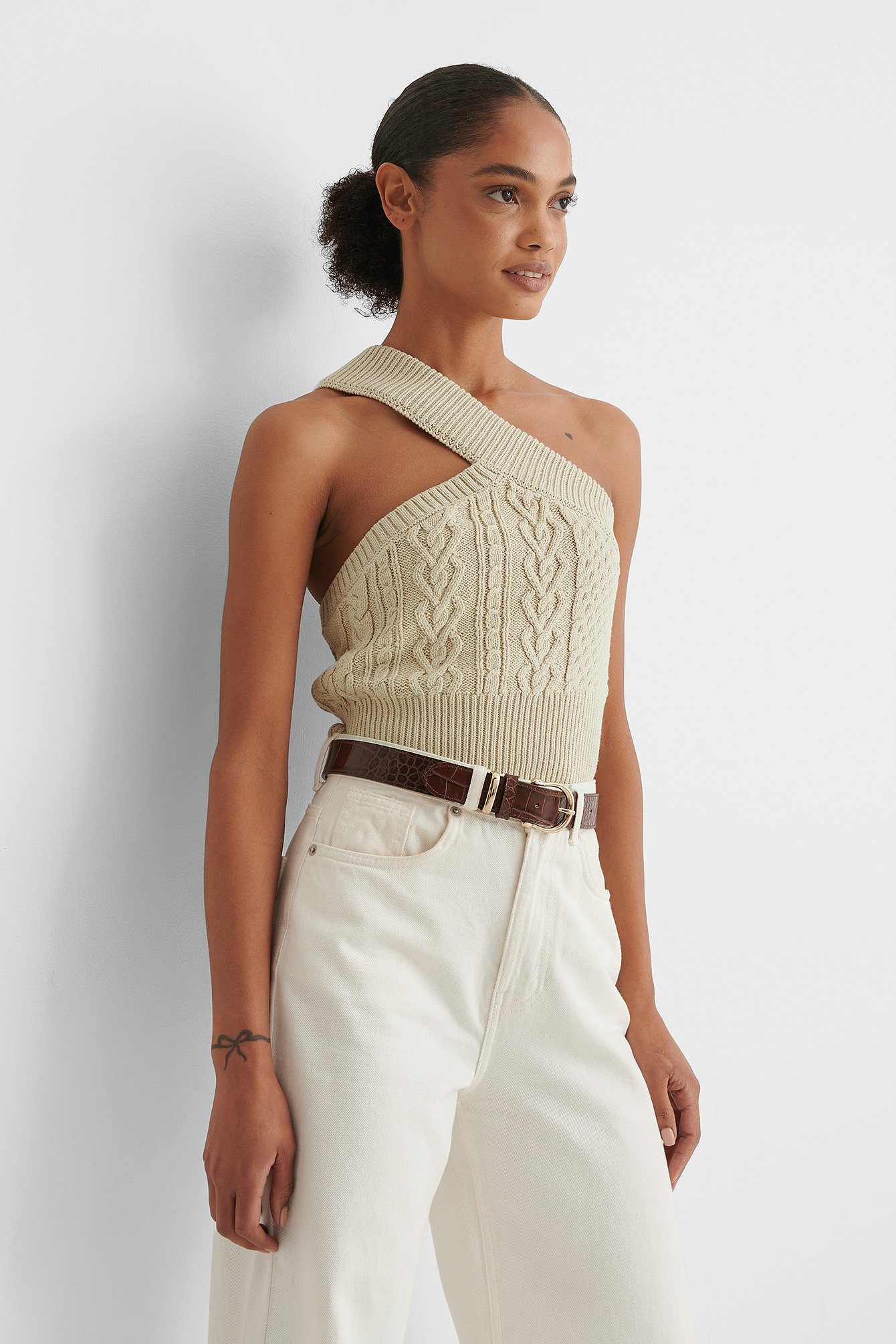 Beige One Shoulder Cable Knit Top