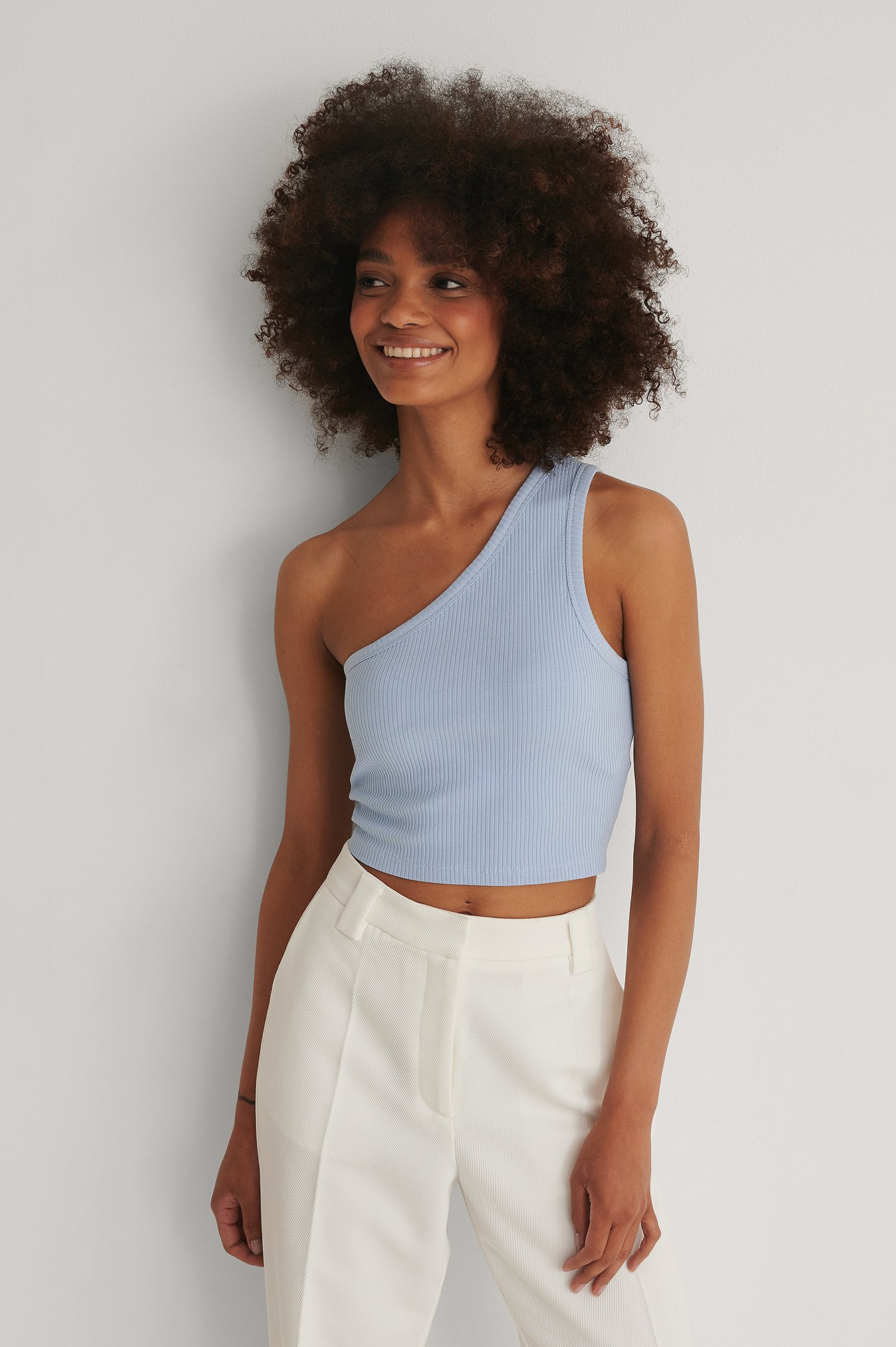 Blue Organic One Shoulder Crop Rib Top