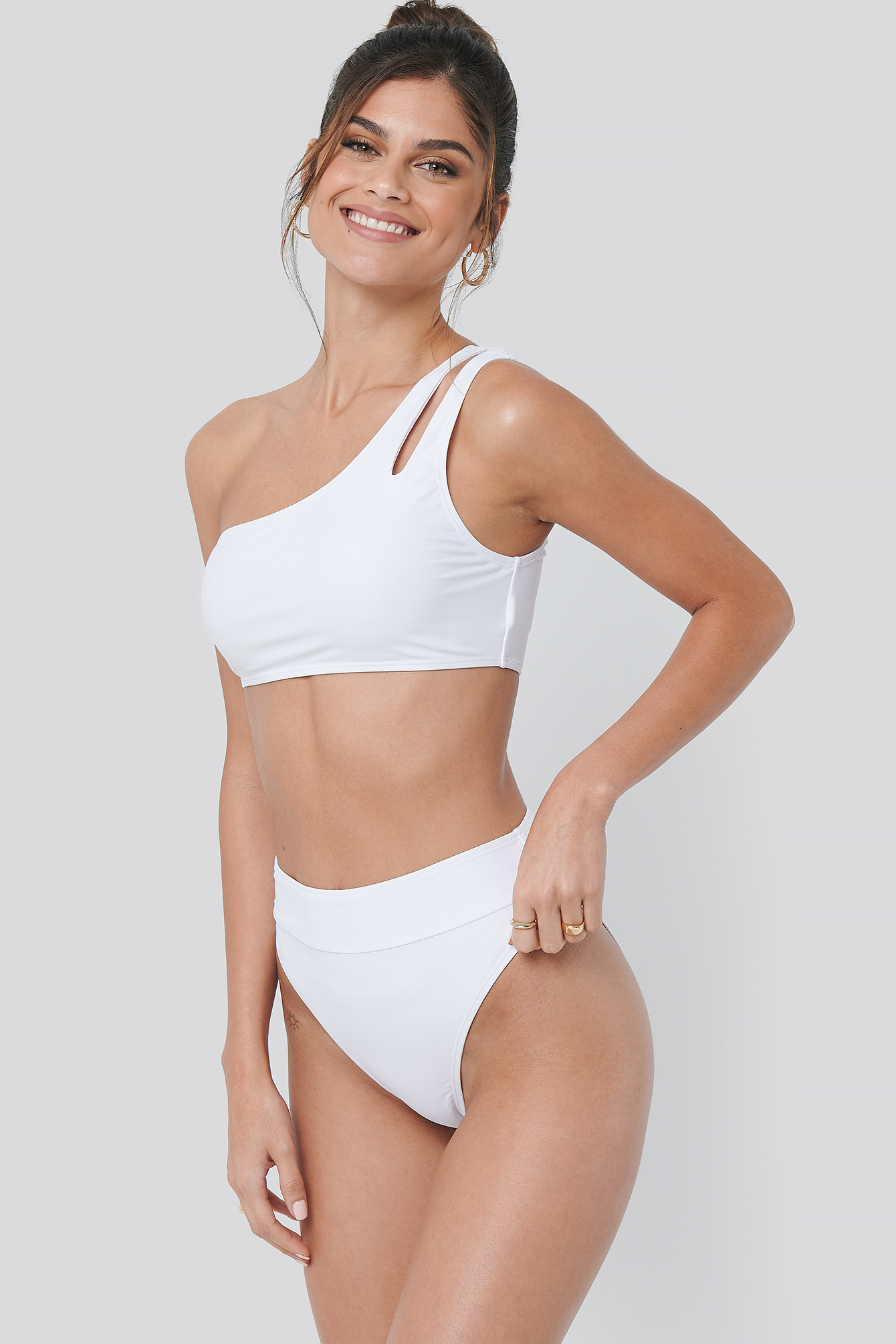 White One Shoulder Cut Out Bikini Top