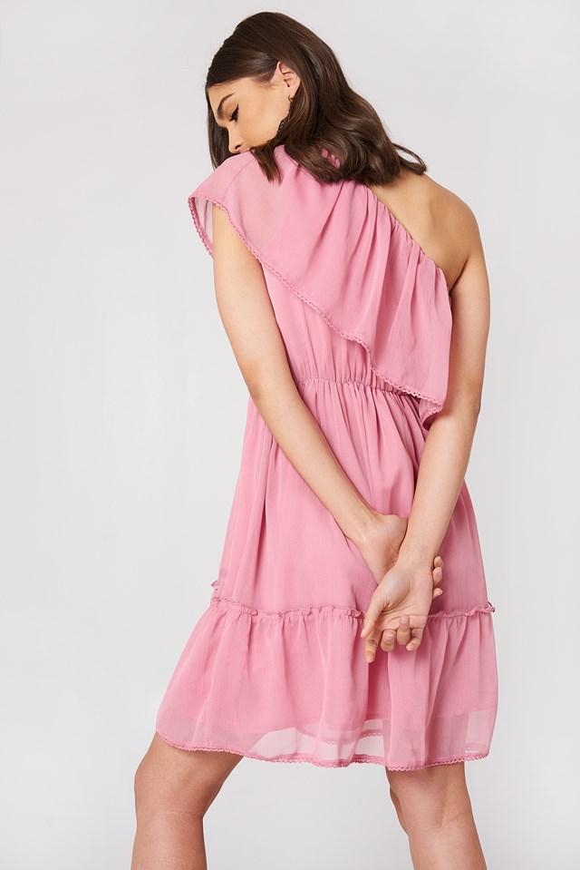 One Shoulder Flounce Dress Ballet Pink