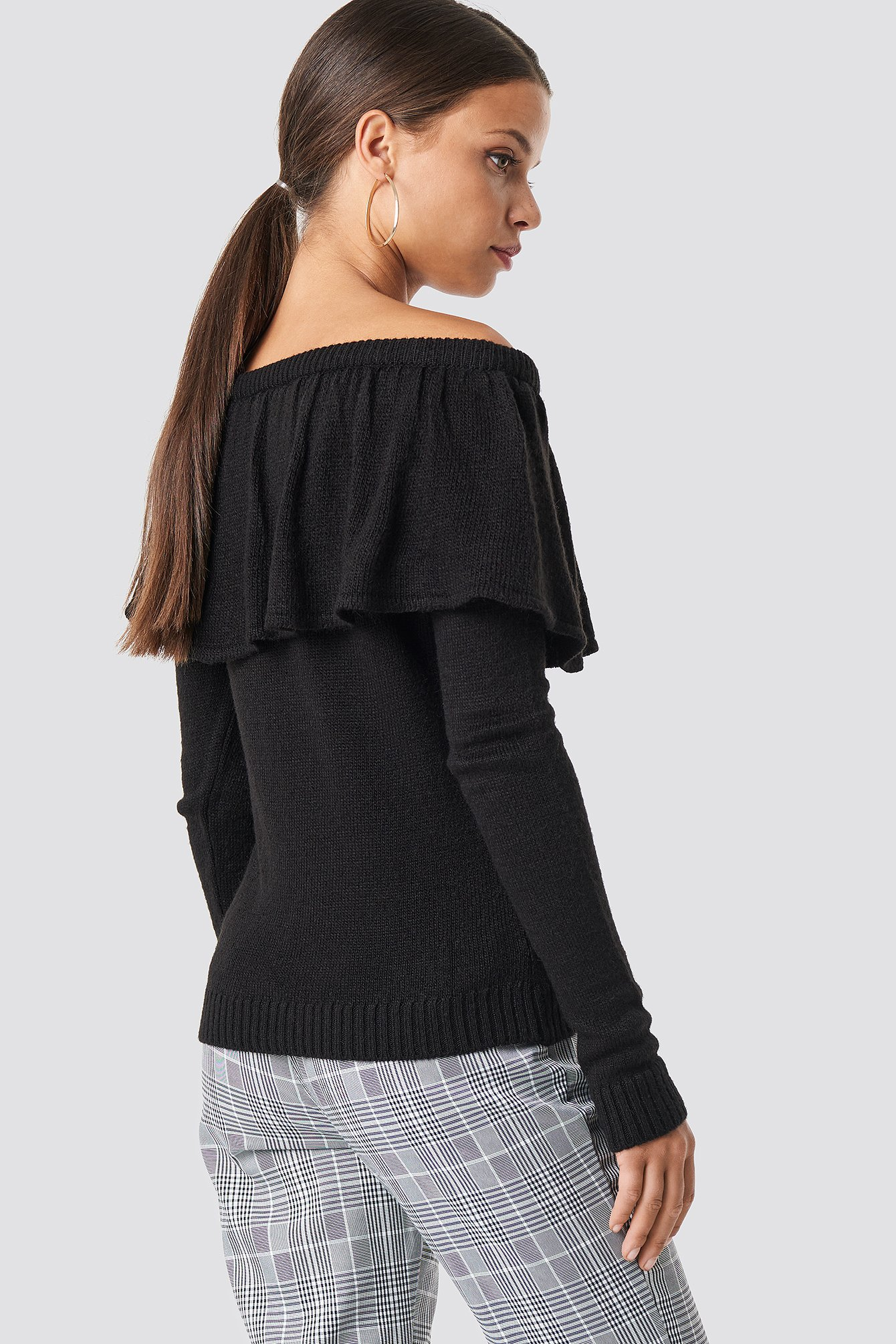 One Shoulder Flounce Knitted Sweater NA-KD.COM