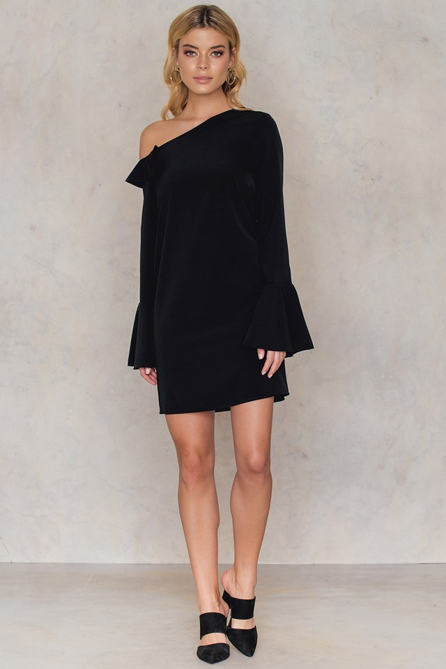 One Shoulder Frill Sleeve Dress Black