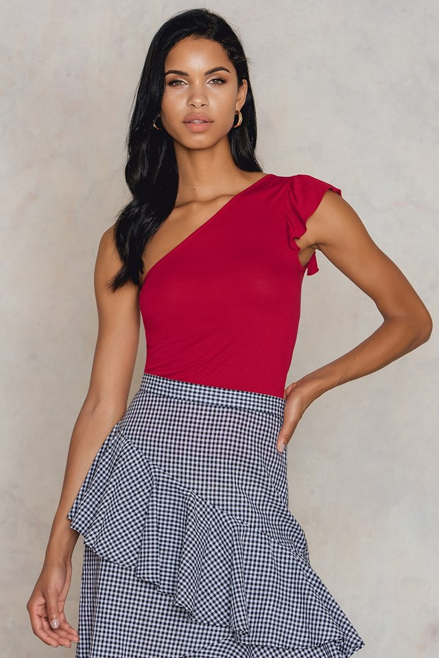 One Shoulder Frill Tank Red