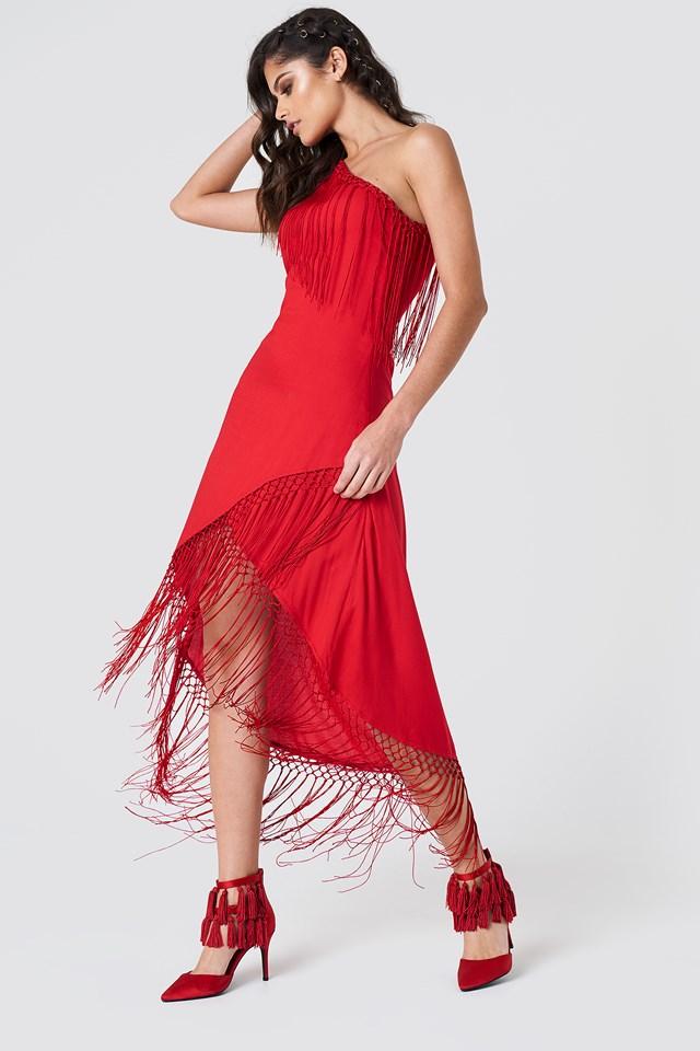 One Shoulder Fringe Dress Red