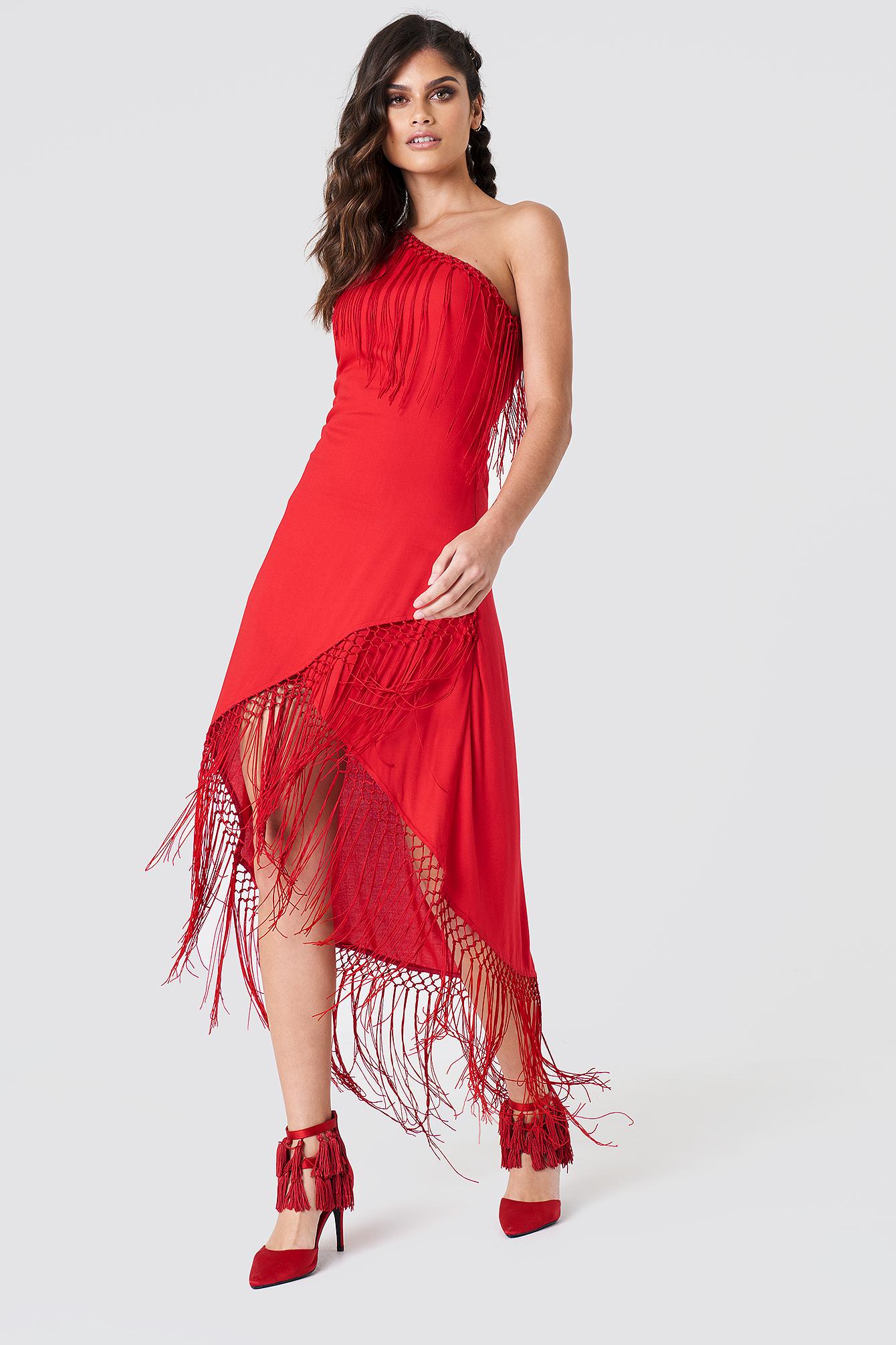 One Shoulder Fringe Dress NA-KD.COM
