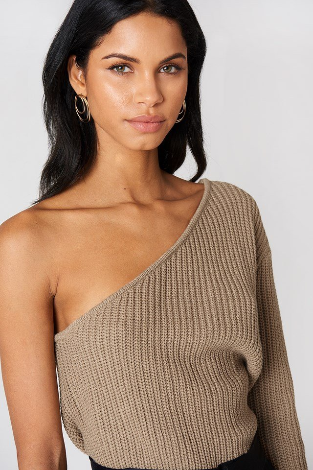 One Shoulder Knitted Sweater Tan