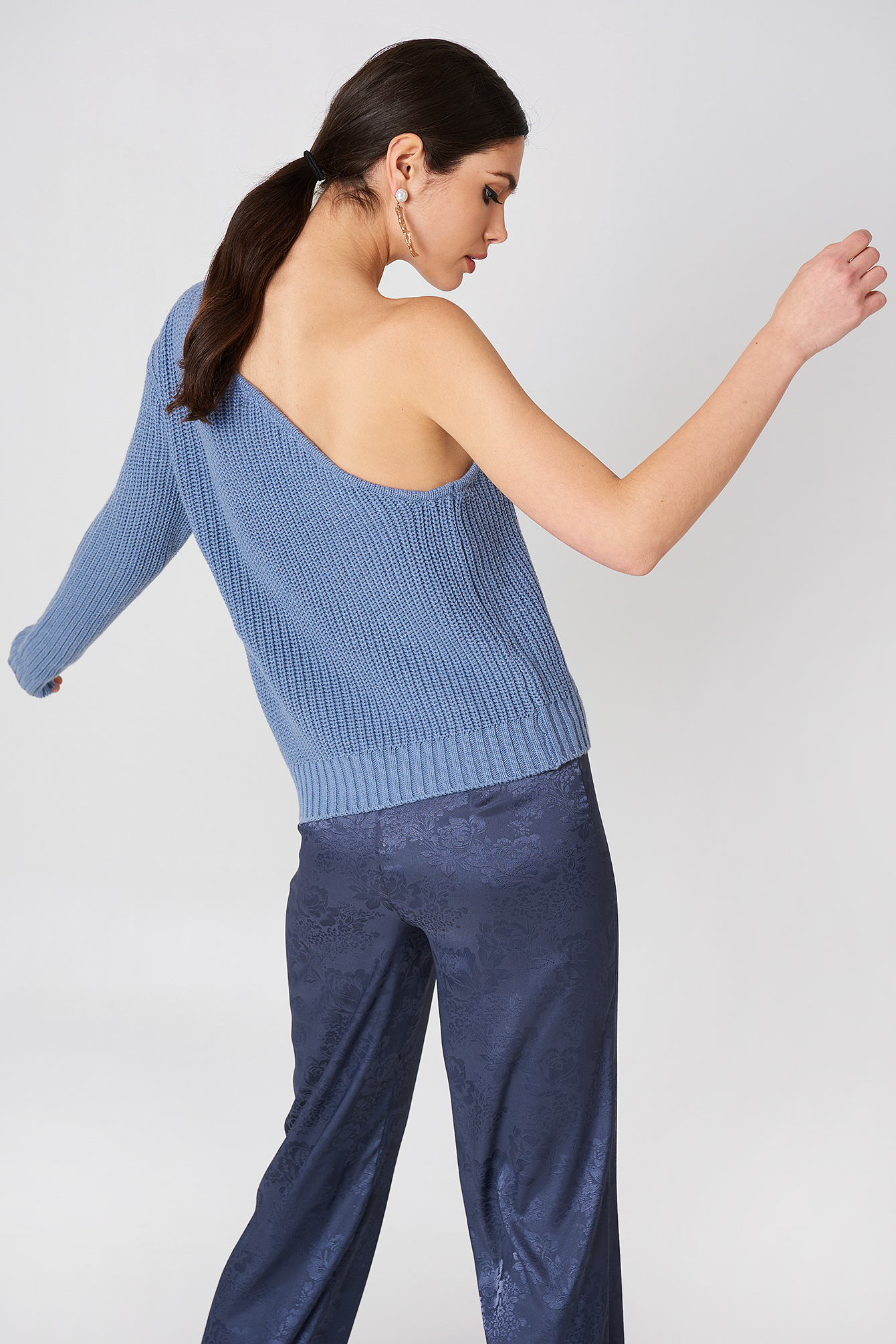 Out In The Sun One Shoulder Knitted Top Blue