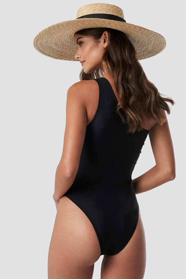 One Shoulder Metal Ring Swimsuit Black