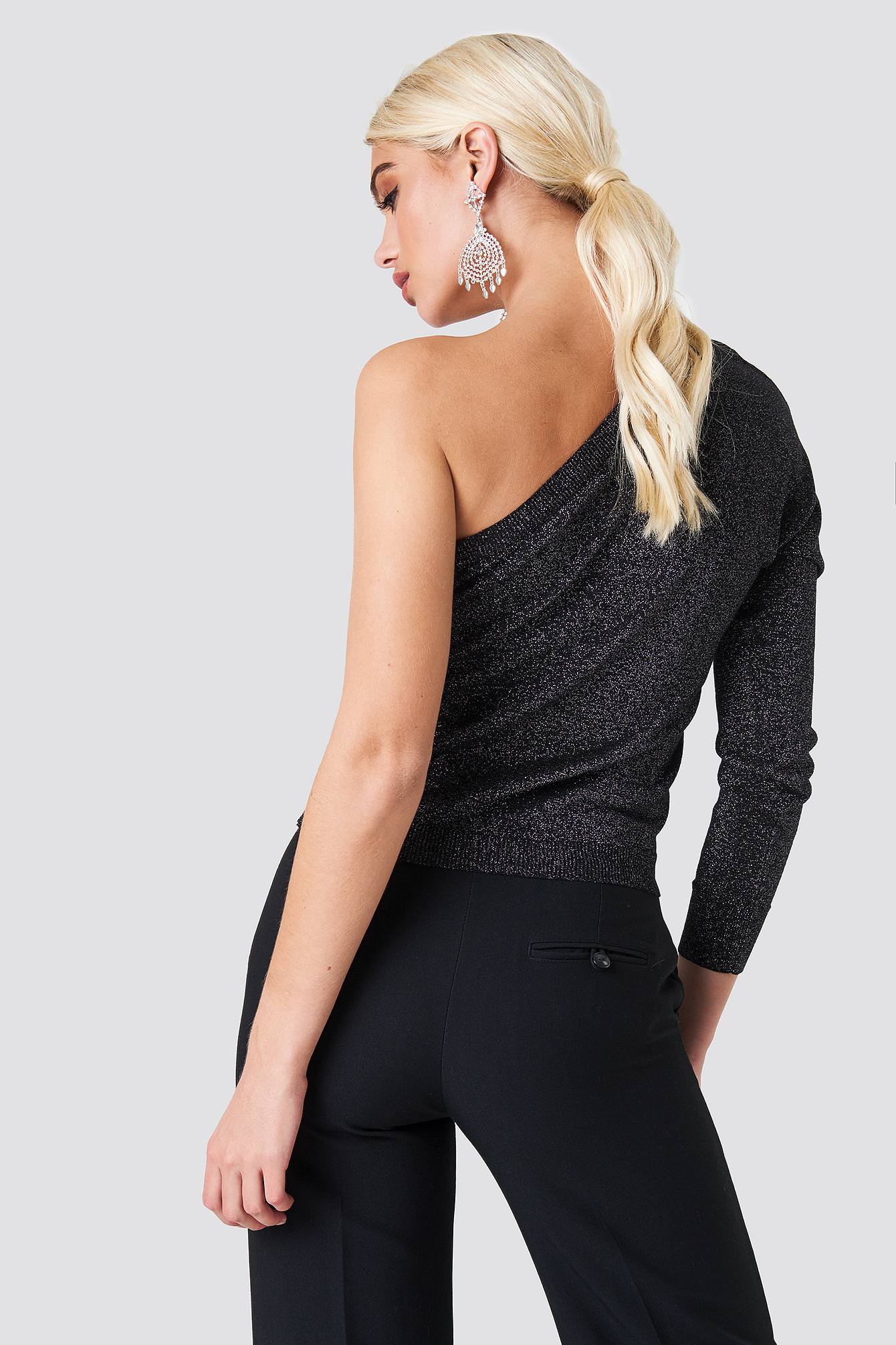 One Shoulder Metallic Sweater NA-KD.COM