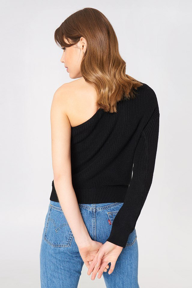 One Shoulder Oversize Knitted Sweater Black