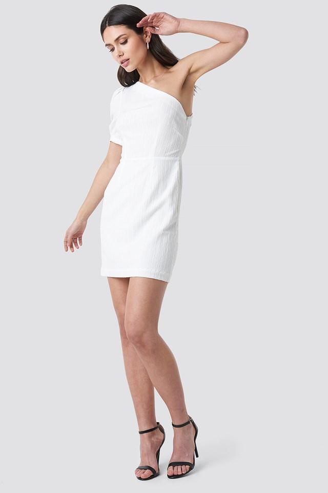 One Shoulder Puff Sleeve Mini Dress White