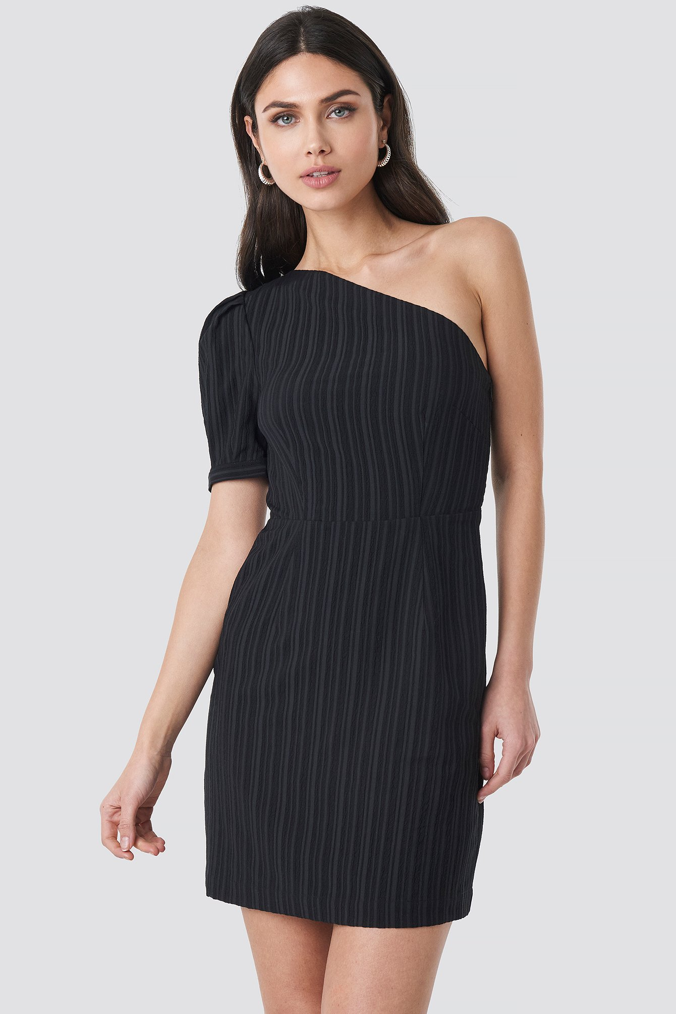 c3701d871c4 One Shoulder Puff Sleeve Mini Dress Black   na-kd.com