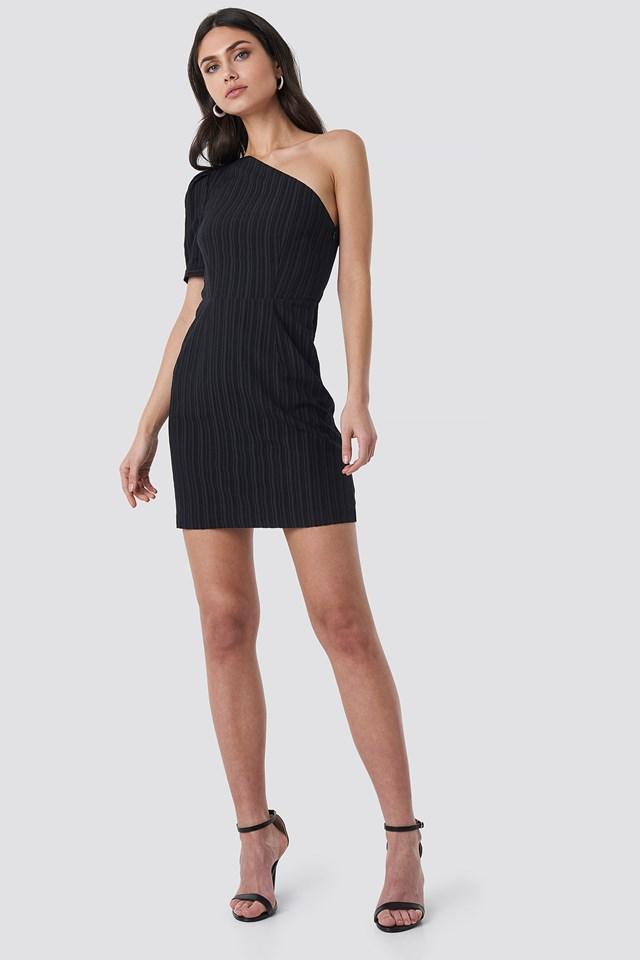 One Shoulder Puff Sleeve Mini Dress Black