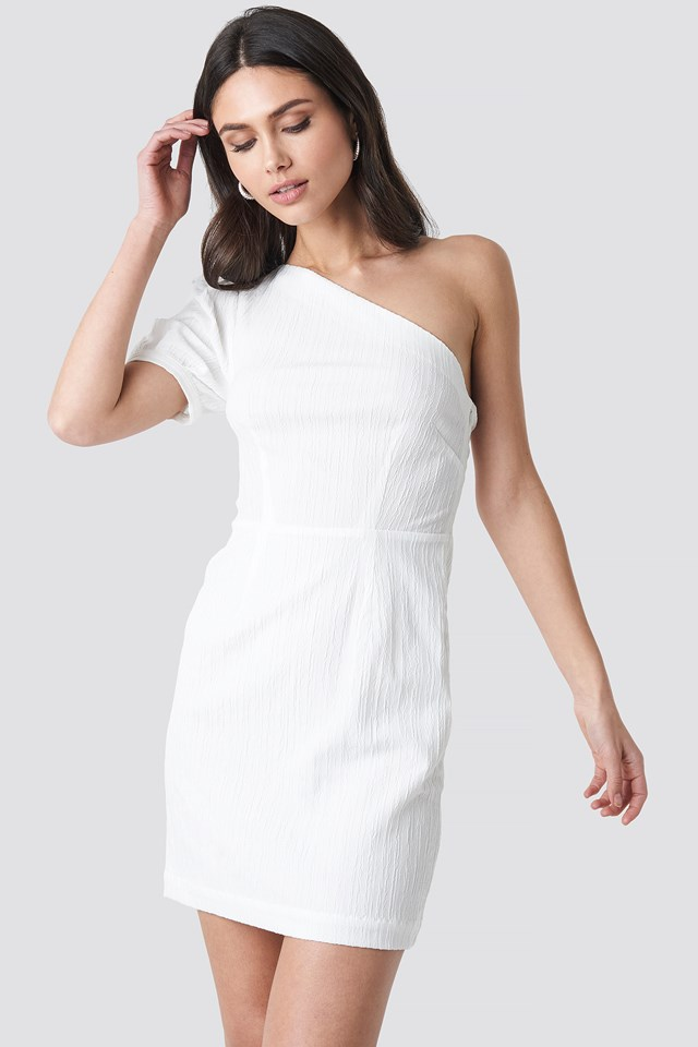 One Shoulder Puff Sleeve Mini Dress White