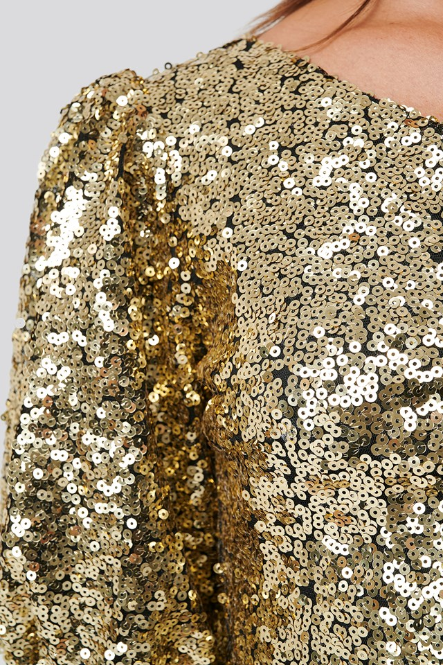 One Shoulder Puff Sleeve Sequin Dress Gold
