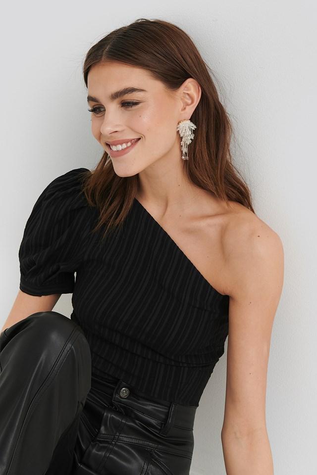 One Shoulder Puff Sleeve Top Black