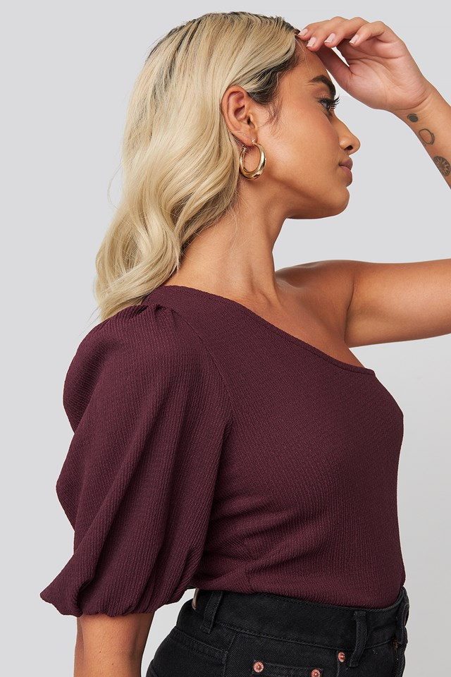 One Shoulder Puff Sleeve Top Burgundy