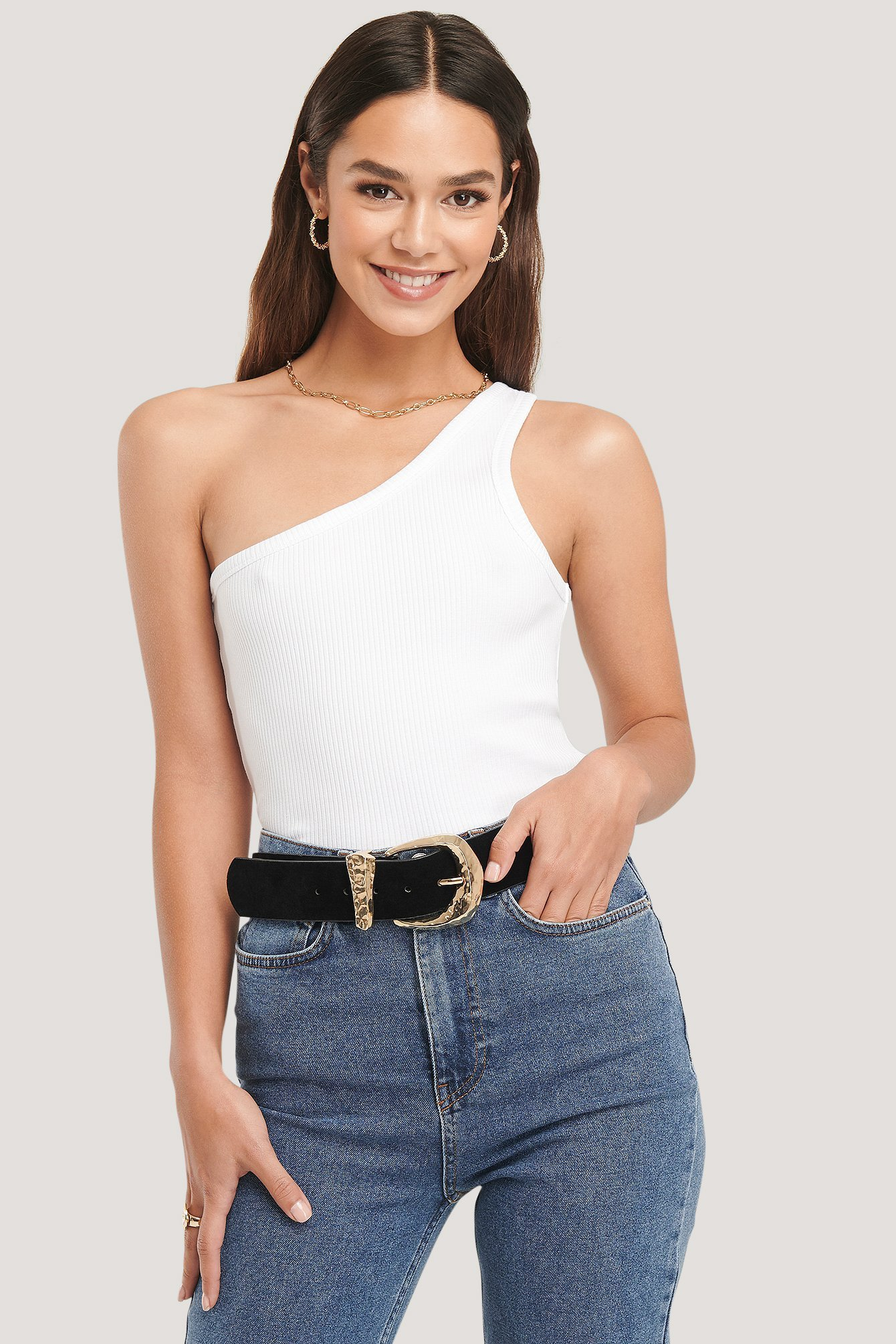 NA-KD Trend One Shoulder Ribbed Top - White