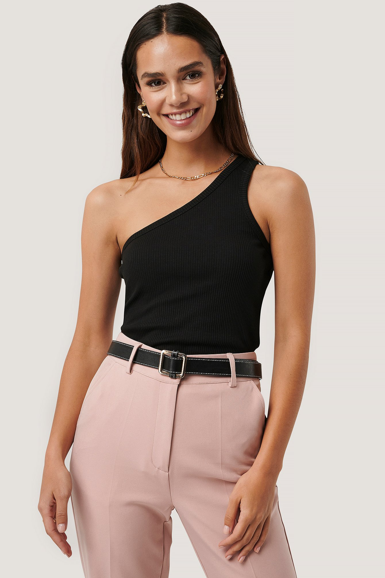 Black One Shoulder Ribbed Top