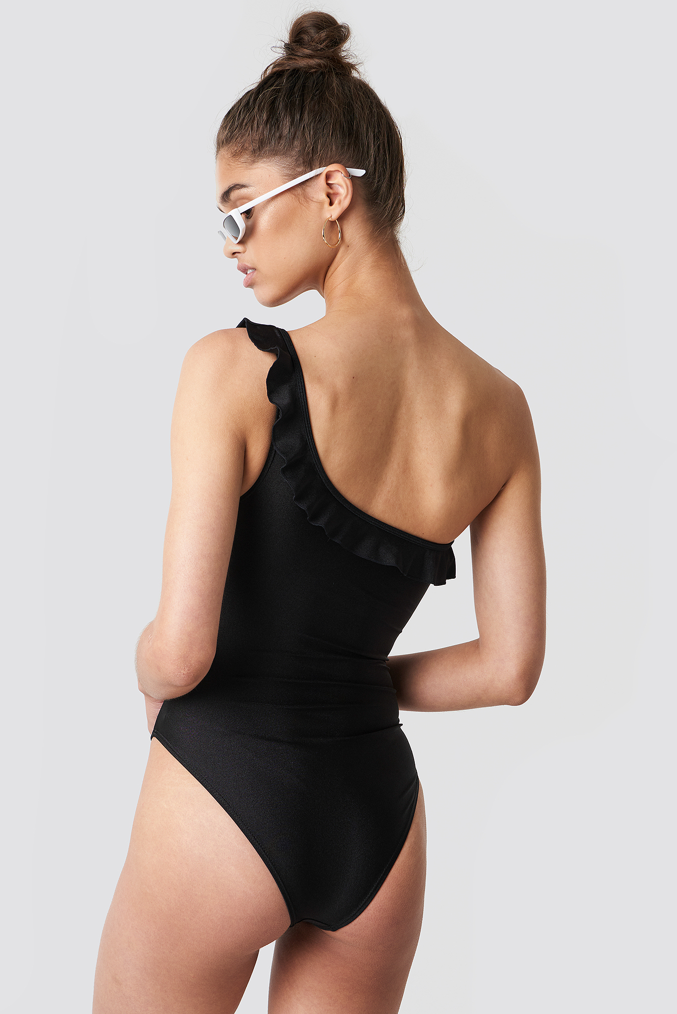 Shiny One Shoulder Ruched Swimsuit NA-KD.COM