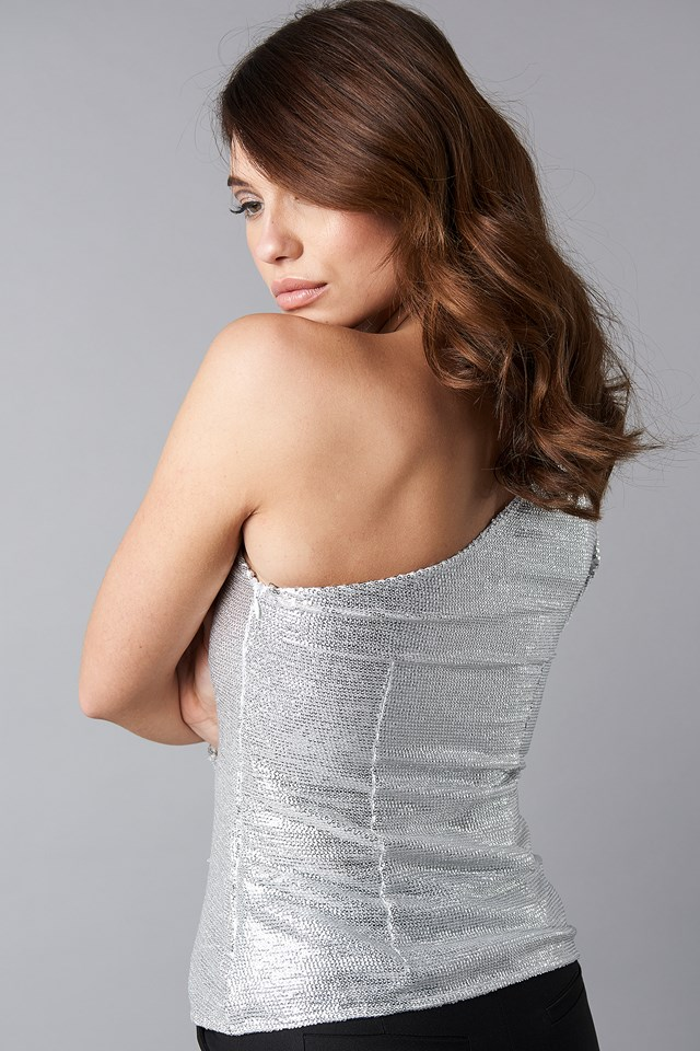 One Shoulder Sequins Top Silver