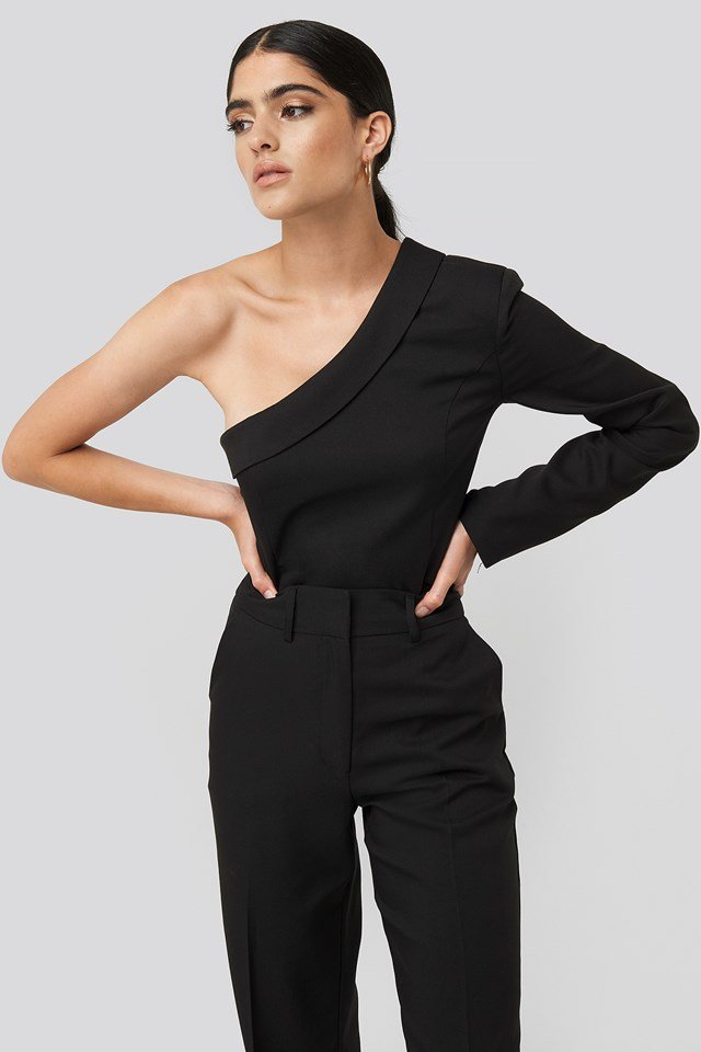 One Shoulder Shirt Black