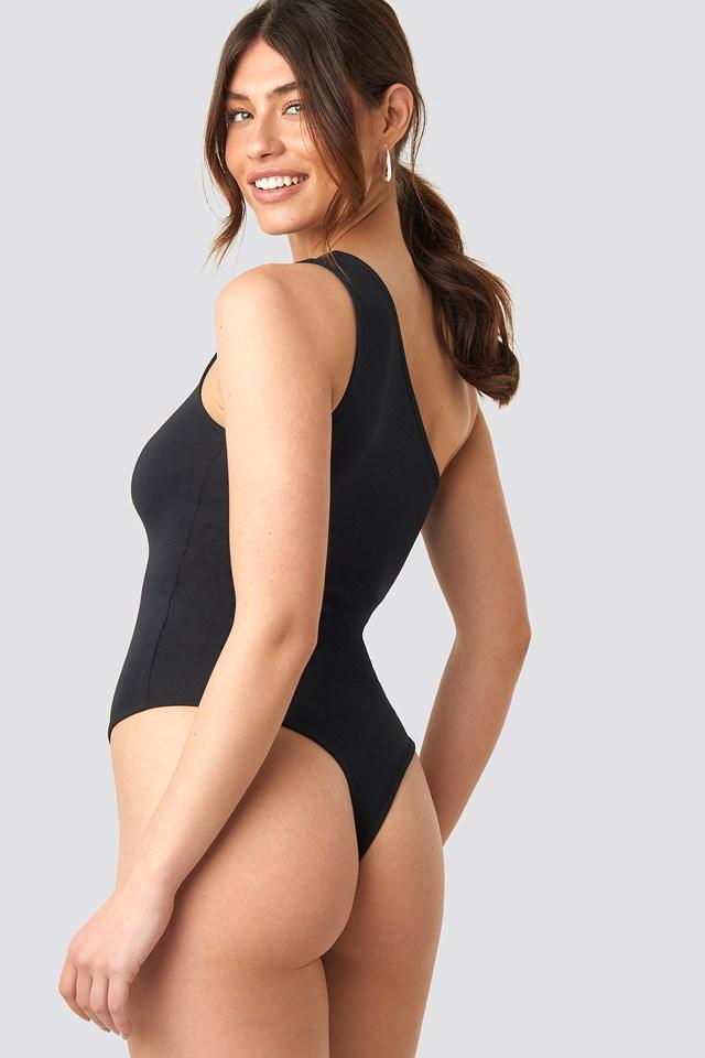 One Shoulder Singlet Body Black