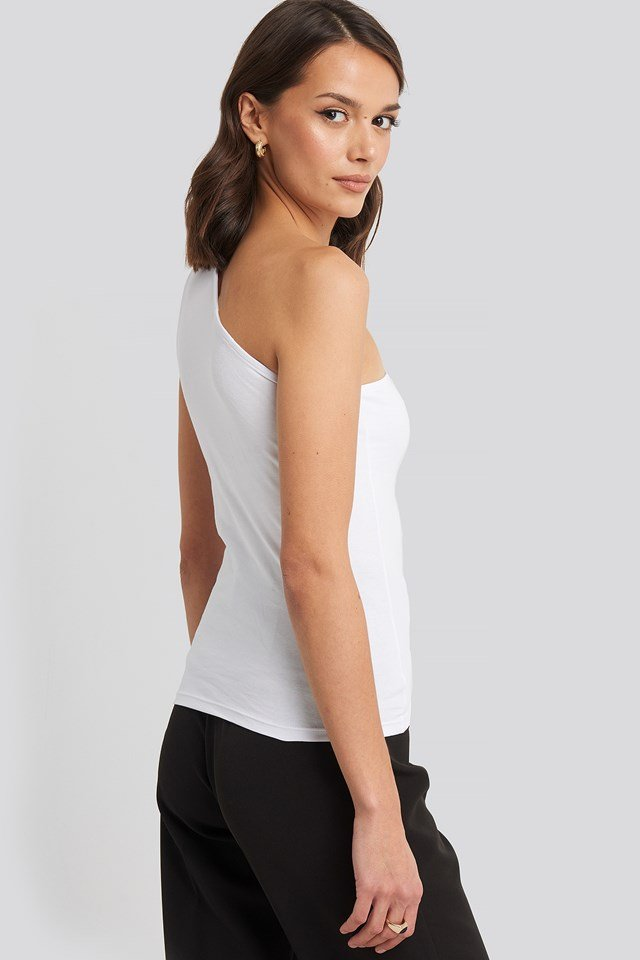 One Shoulder Singlet Top White