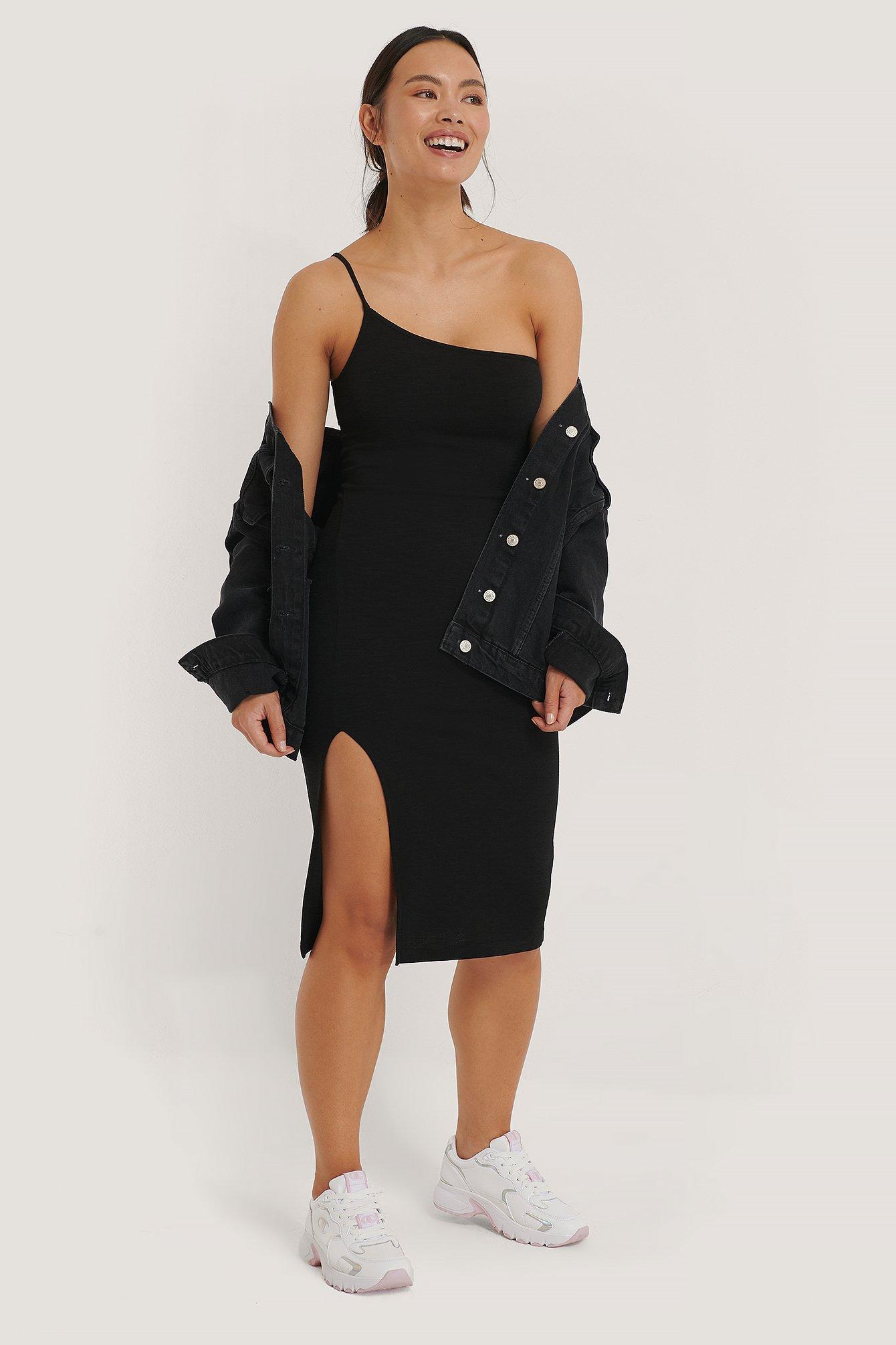 na-kd party -  Einseitig Schulterfreies Kleid - Black