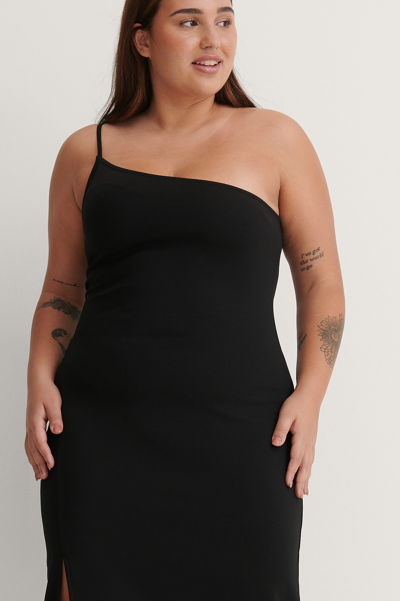 na-kd party -  Schlitz Einseitig Schulterfreies Kleid - Black