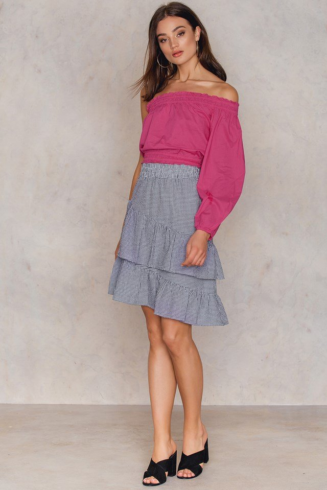 One Shoulder Smock Top Pink