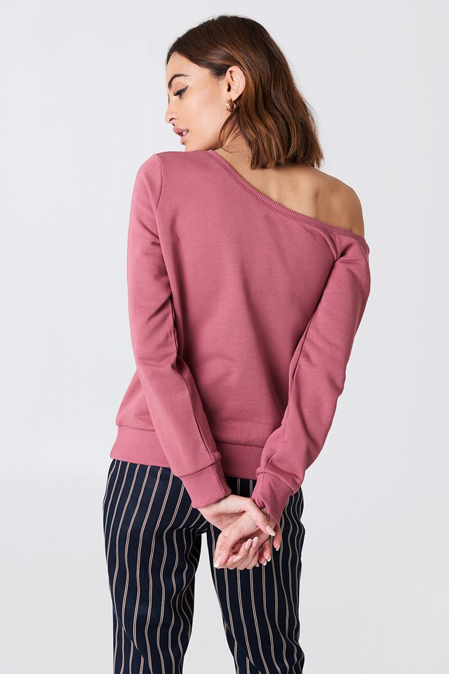 One Shoulder Sweater Purple Rose