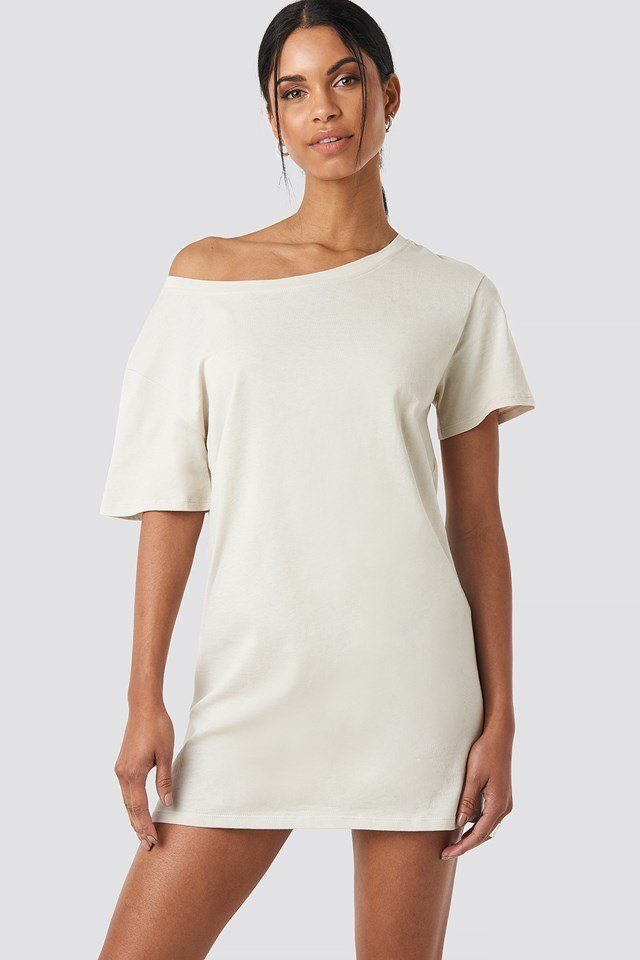 One Shoulder T-shirt Dress Dusty Light Beige
