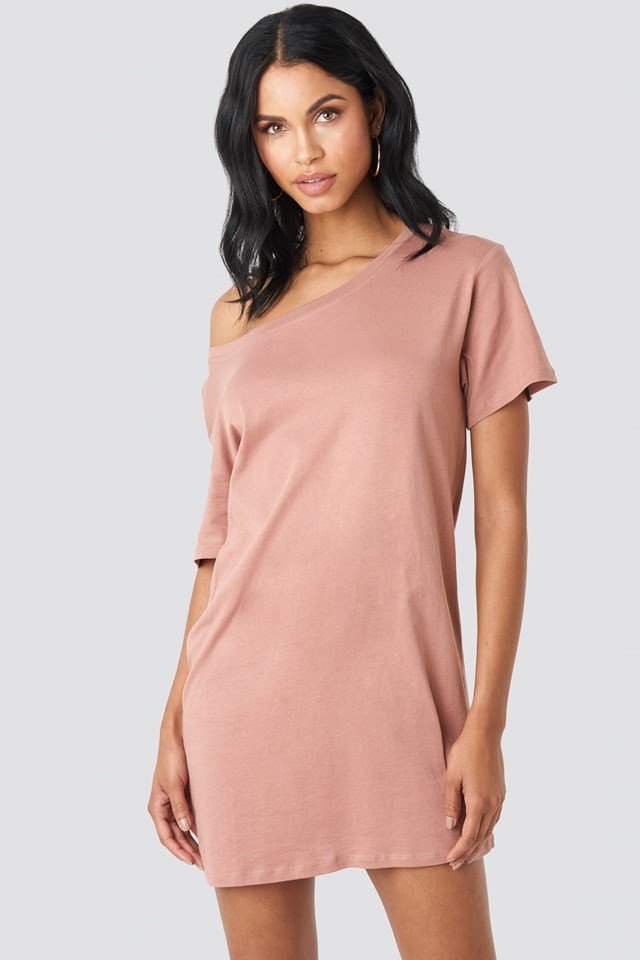 One Shoulder T-shirt Dress Dusty Dark Pink