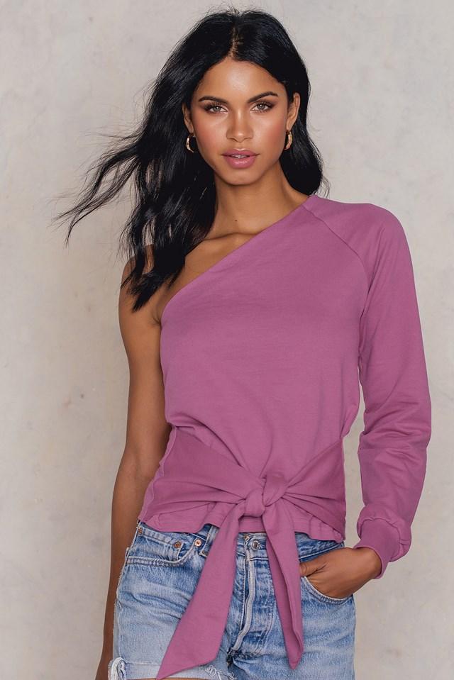 Sweter na jedno ramię z wiązaniem w talii Dust Purple