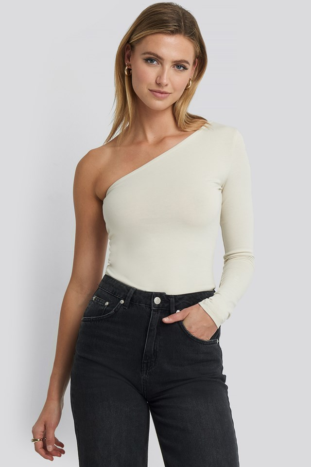 One Shoulder Top Dusty Light Beige